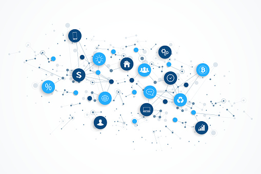 Internet of things IoT and network connection concept design vector. Smart digital concept clipart