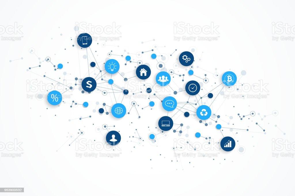 Internet das coisas muito e rede conexão conceito projeto vector. Conceito digital inteligente - ilustração de arte em vetor