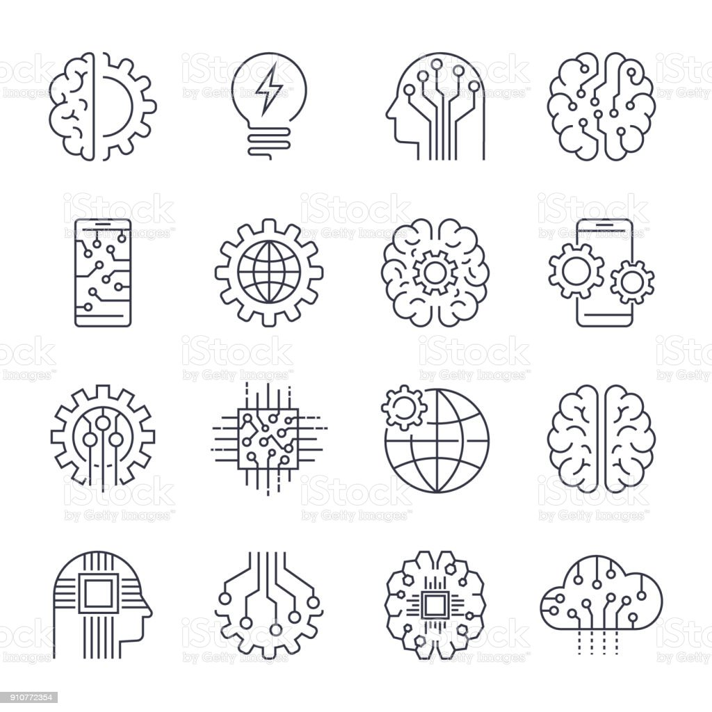 Internet Of Things IOT , Artificial Intelligence AI , Connectivity, Innovative Smart Cyber Security Digital Information Technologies IT Vector Icon Set. Editable Stroke vector art illustration