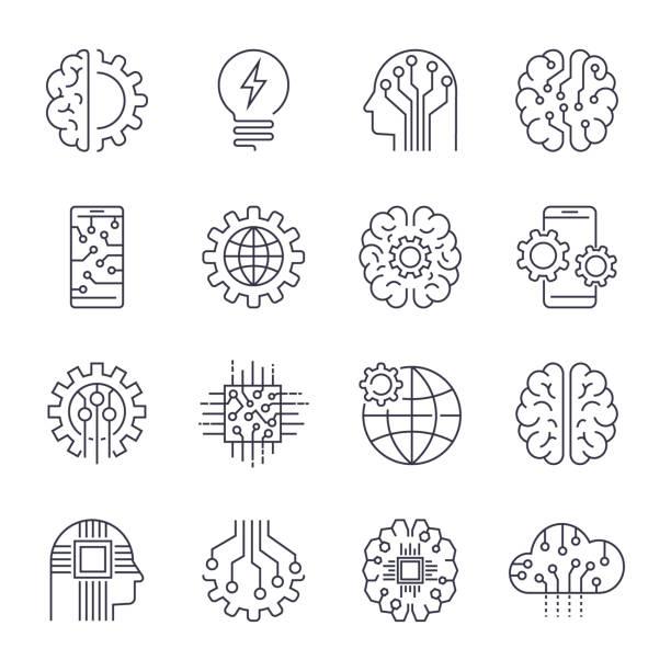 internet of things, iot, künstliche intelligenz ki, konnektivität, innovative smart cyber security digitale informationstechnologien it vektor icon-set. editierbare schlaganfall - kopfleuchten stock-grafiken, -clipart, -cartoons und -symbole