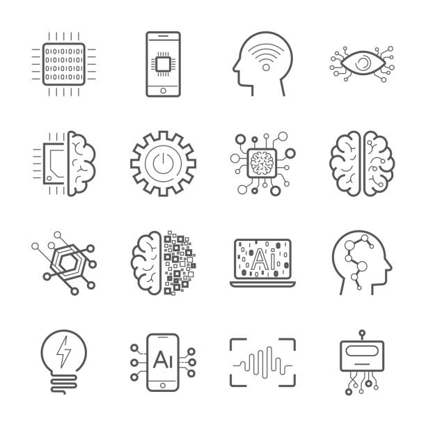 Internet of Things IOT , Artificial Intelligence AI , Innovative Smart Cyber Security Digital Information Technologies IT Vector Icon Set. Industry 4.0. EPS 10 vector art illustration