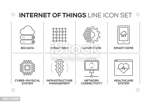 Internet of Things chart with keywords and monochrome line icons
