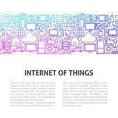 Internet of Things Line Design Template. Vector Illustration of Outline Banner.