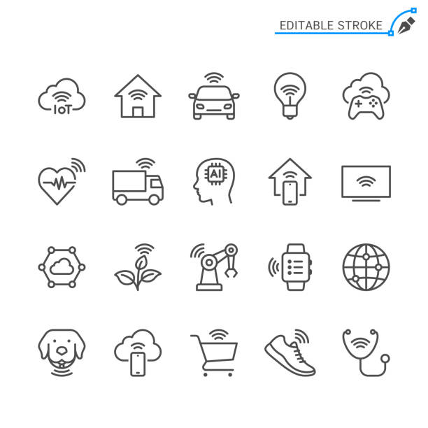 Internet of Things line icons. Editable stroke. Pixel perfect. vector art illustration