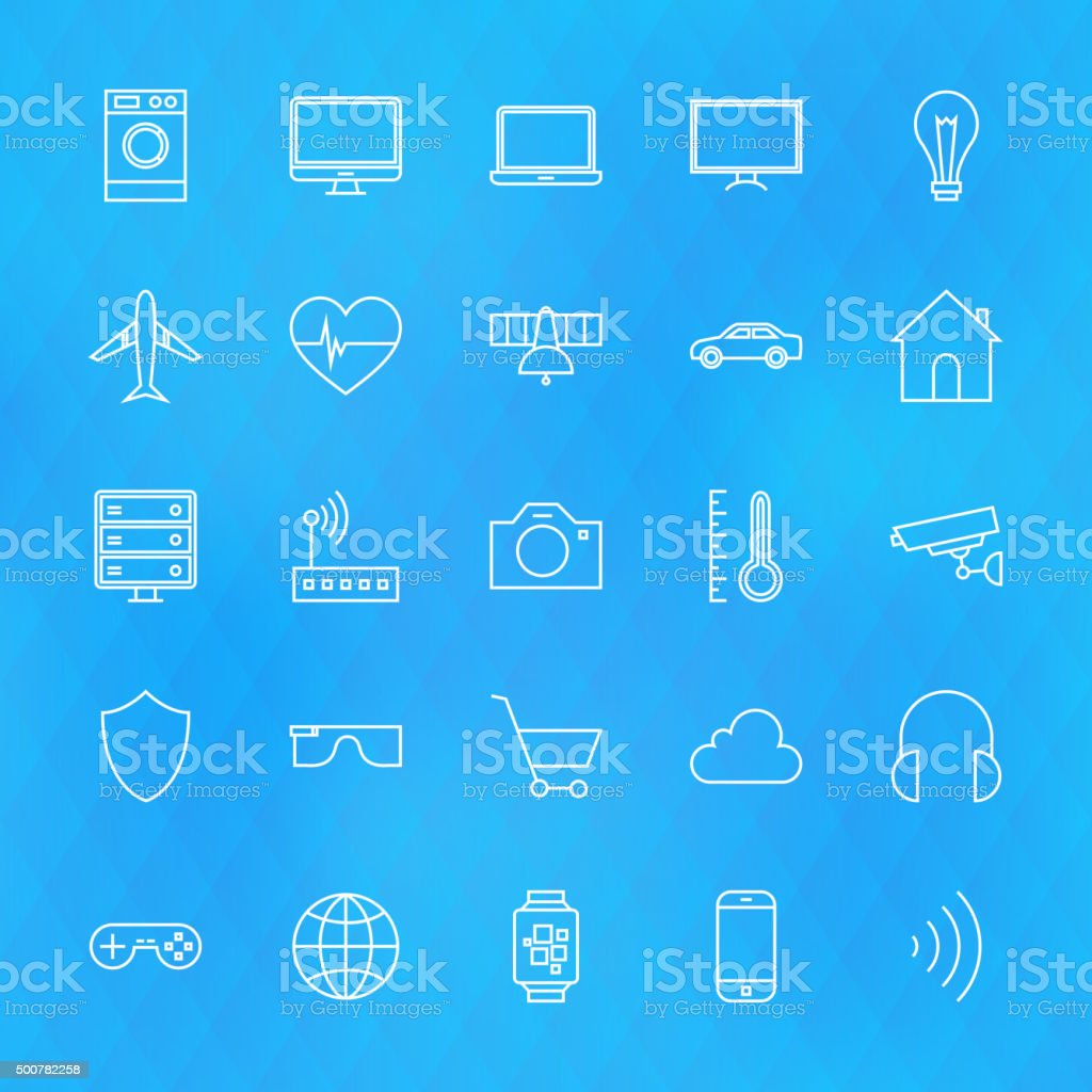 Internet of Things Line Icons Set over Polygonal Background vector art illustration