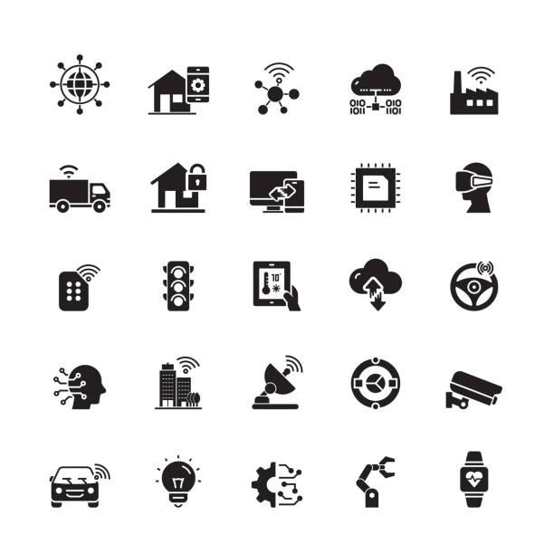 illustrazioni stock, clip art, cartoni animati e icone di tendenza di internet of things related vector icons - sensore