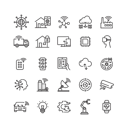 Internet Of Things Related Vector Line Icons Stock