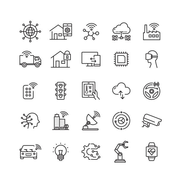 Internet of Things Related Vector Line Icons Internet of Things Related Vector Line Icons smart city stock illustrations