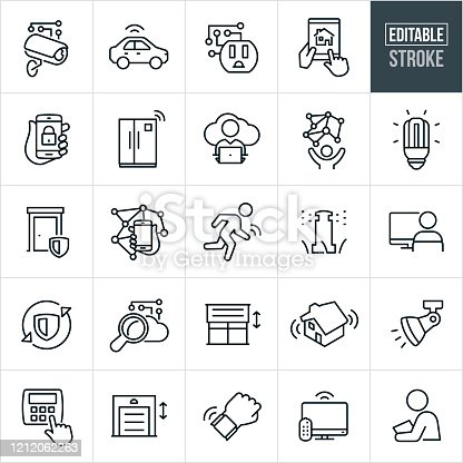 A set of internet of things icons. The icons have editable strokes or outlines when using the vector file format. The icons include the internet of things, artificial intelligence, home automation, computer network, security camera, vehicle automation, power outlet, smart home, technology, smartphone, smart technology, cloud computing, internet, home security, intelligence, wireless technology, security system, thermostat, automated garage door, automated blinds, automated appliances and other conceptually related icons.