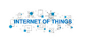 Internet of Things vector banner. Word with line icon. Vector background
