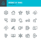 Set of 20 Internet of Things & Artificial Intelligence line vector icons. Autonomous Technology, Artificial Intelligence, Machine Learning, Computer Chip, Surveillance, Internet of Things, Smart Home, Smart Watch, Driverless Car and so on.