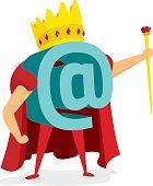 Cartoon illustration of at symbol as king of internet