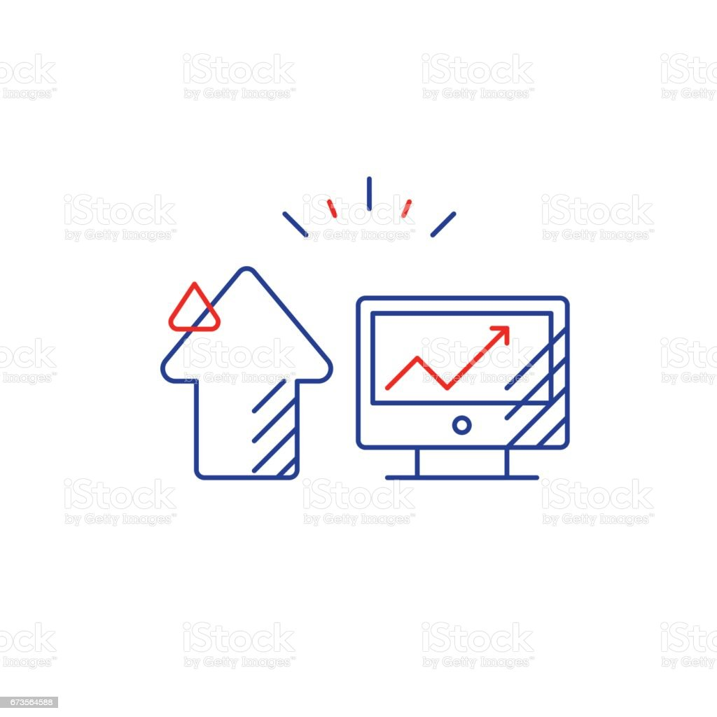 Internet promotion, investment concept, business development plan line icon royalty-free internet promotion investment concept business development plan line icon stock vector art & more images of advertisement