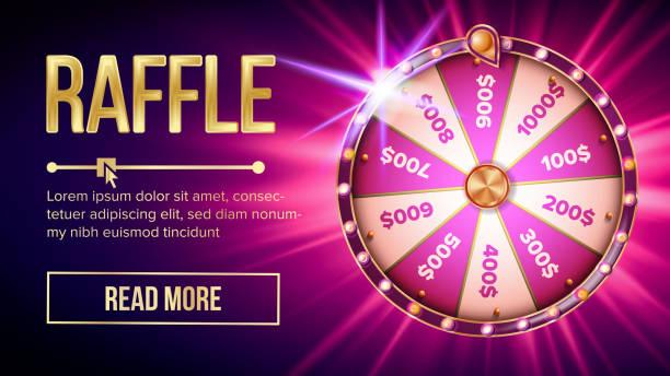 stockillustraties, clipart, cartoons en iconen met internet loterij roulette fortune banner vector - ronddraaien
