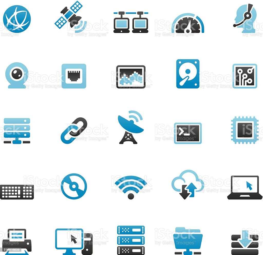 Internet related vector icons set vector art illustration