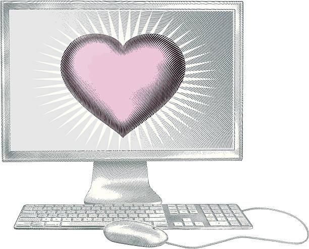 интернет-romance - граттаж stock illustrations