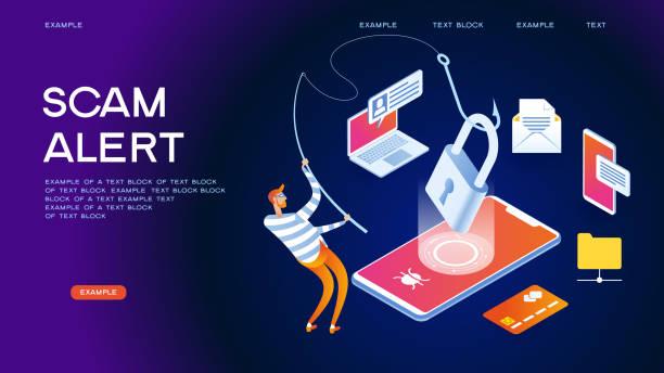 illustrazioni stock, clip art, cartoni animati e icone di tendenza di internet scam alert - phishing