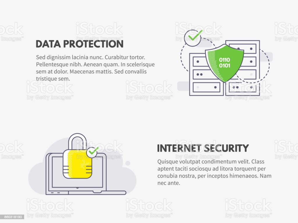 Internet security and Data protection. Cyber security concept. vector art illustration