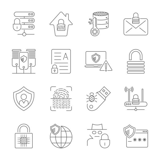 Internet Security and Digital Protection icons set in thin line style. Technology of Protection in digital world. Editable Stroke. EPS 10 vector art illustration