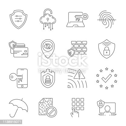 istock Internet security and digital protection line icons set. Design signs for web, app, ui. Modern perfect vector illustration. Editable Stroke. EPS 10 1138915071