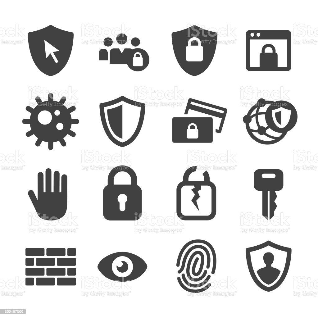 Internet Security and Privacy Icons - Acme Series vector art illustration