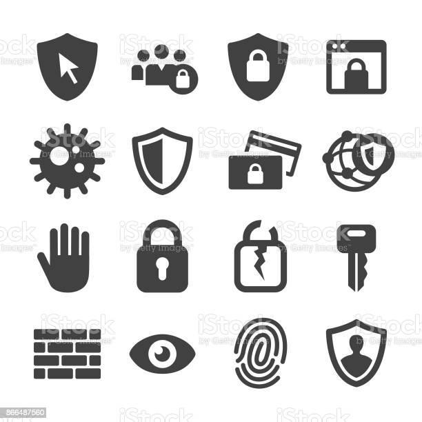 Internet Security And Privacy Icons Acme Series - Arte vetorial de stock e mais imagens de Banco - Edifício Financeiro