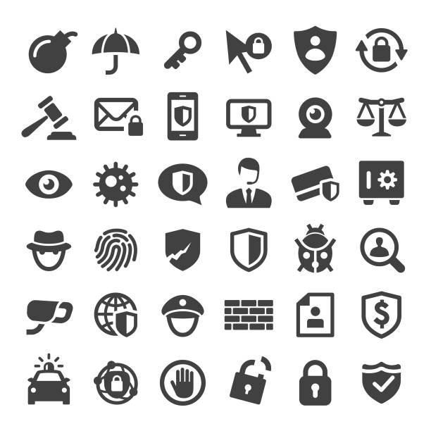 internet-sicherheit und datenschutz-icons - serie big - wachpersonal stock-grafiken, -clipart, -cartoons und -symbole
