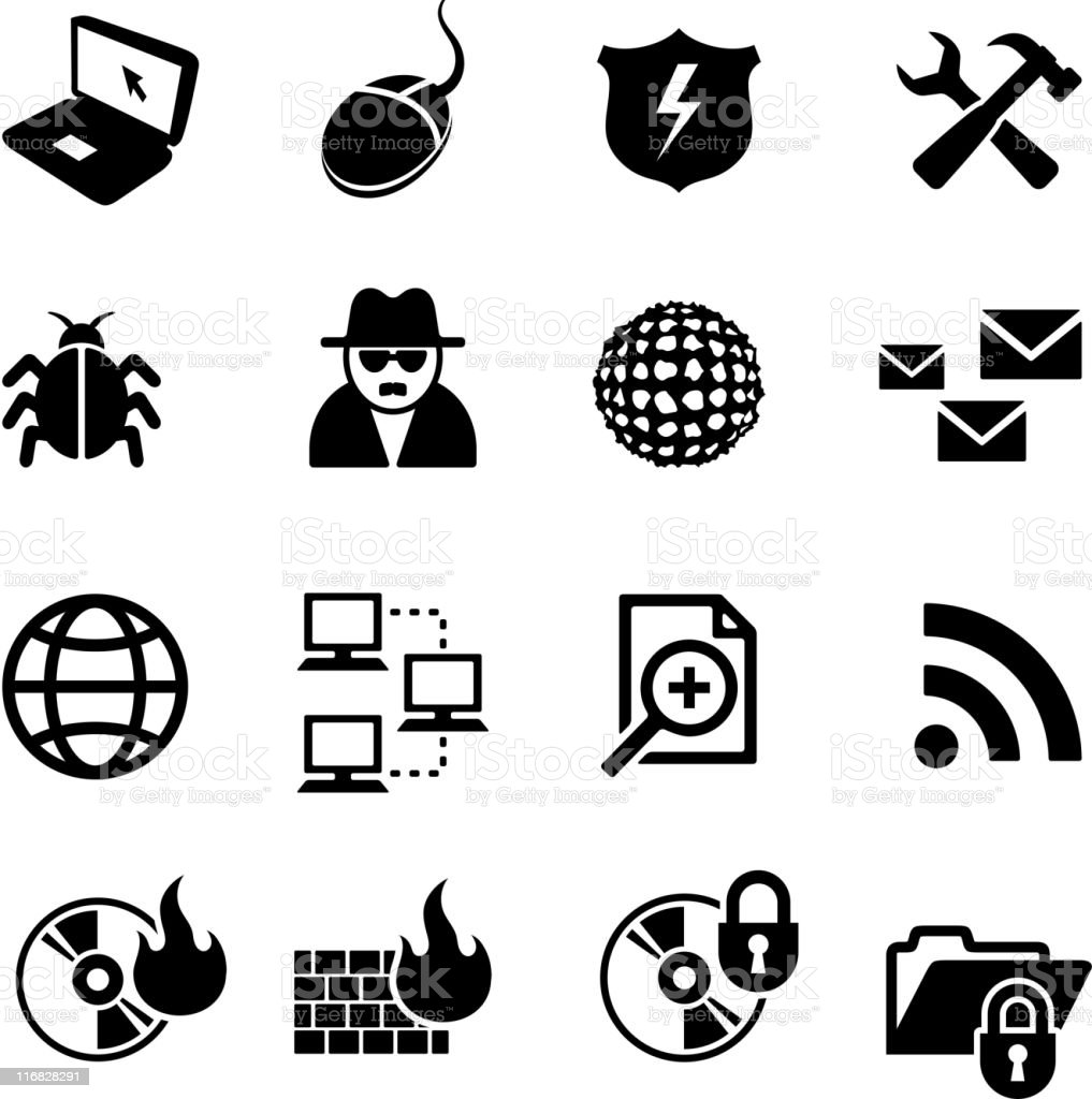 internet security black and white royalty free vector icon set royalty-free stock vector art