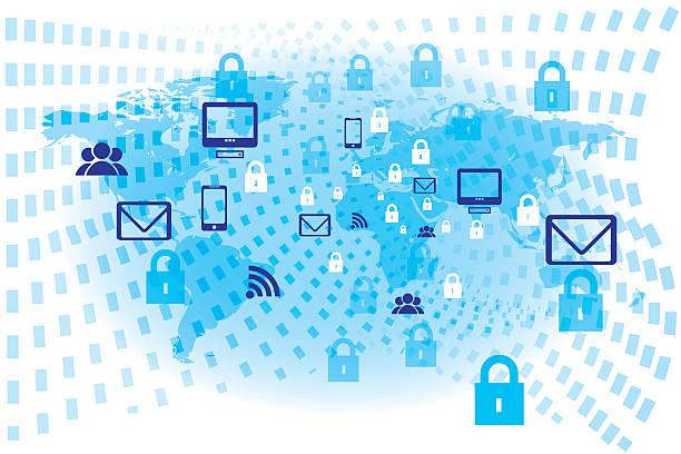 Internet security Concept blue vector design. vector art illustration