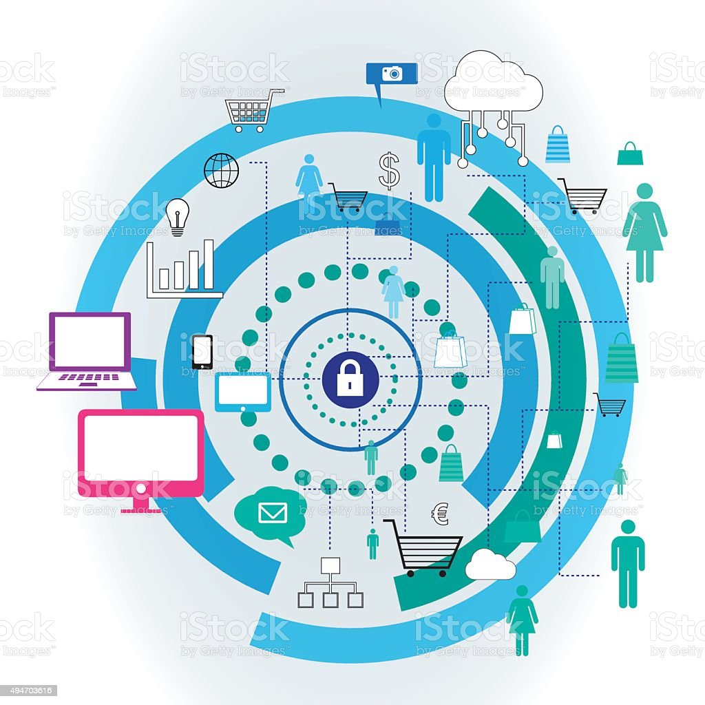 Internet security Concept vector design. Blue concentric circles vector art illustration