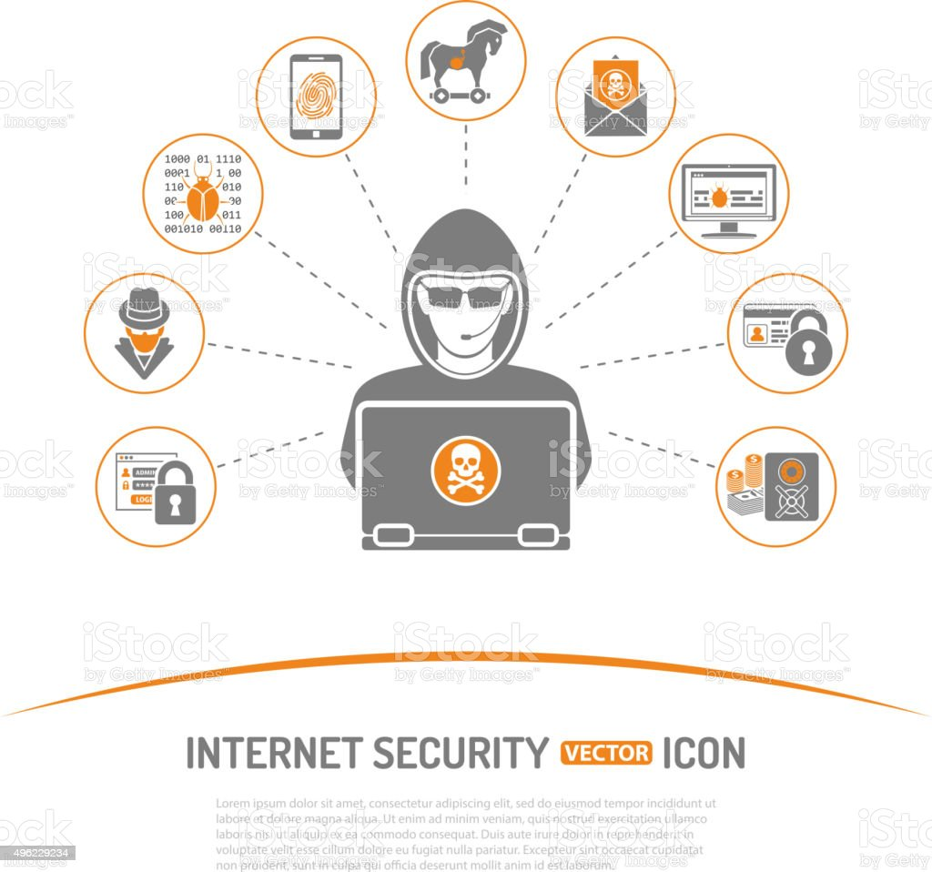 Internet Security Concept vector art illustration