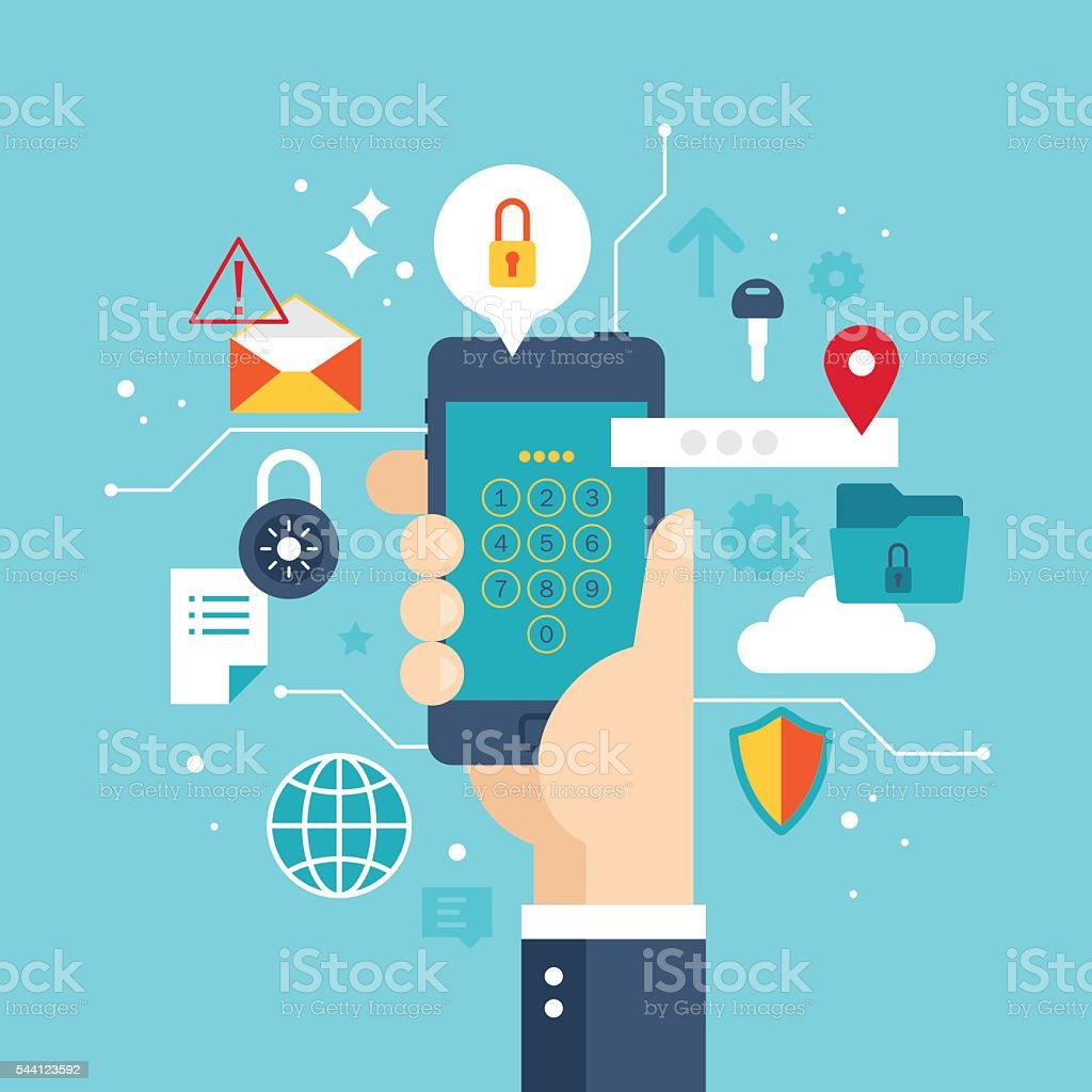 Internet security concept with smartphone protection and privacy vector art illustration