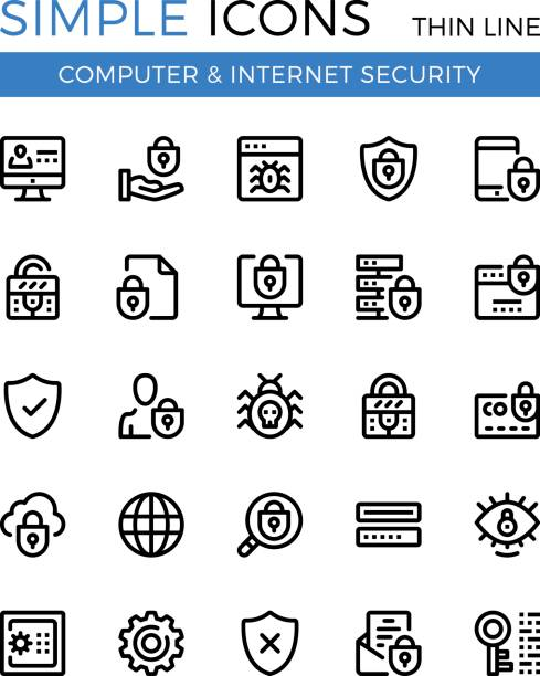 Internet security, cybersecurity, computer protection vector thin line icons set. 32x32 px. Modern line graphic design for websites, web design, etc. Pixel perfect vector outline icons set Internet security, cybersecurity, computer protection vector thin line icons set. 32x32 px. Line graphic design for website, web design, mobile app, infographic. Pixel perfect vector outline icons set antivirus software stock illustrations