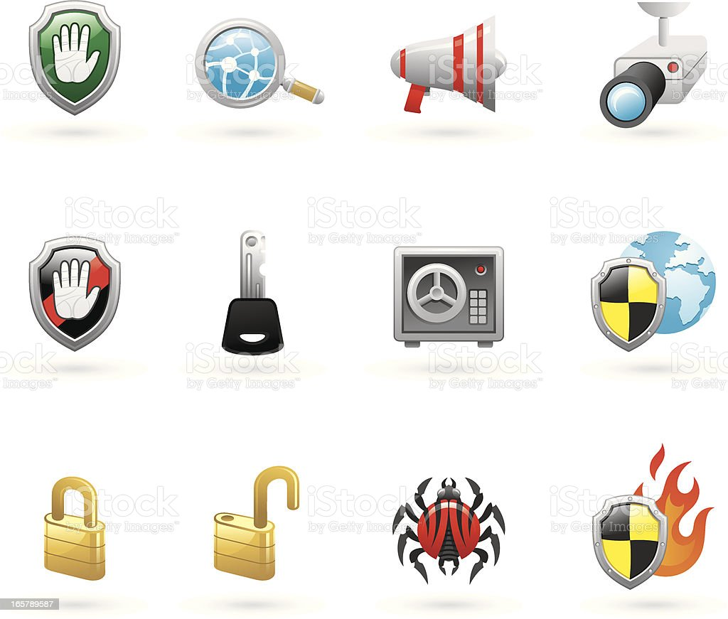 internet & security icon set royalty-free stock vector art