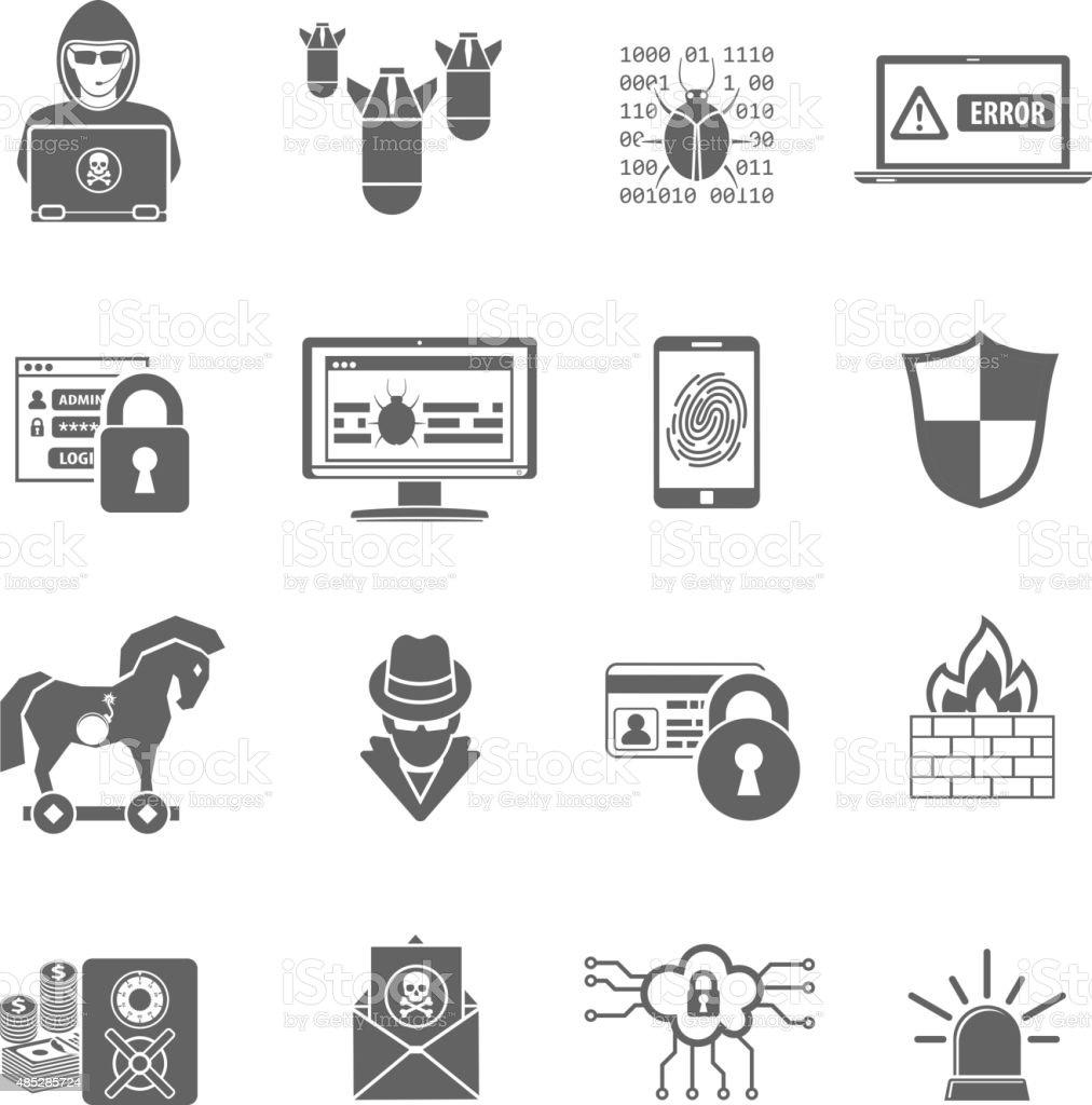 Internet Security Icon Set vector art illustration