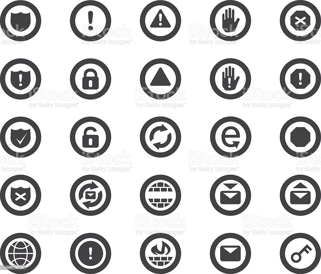 Internet Security Icons vector art illustration