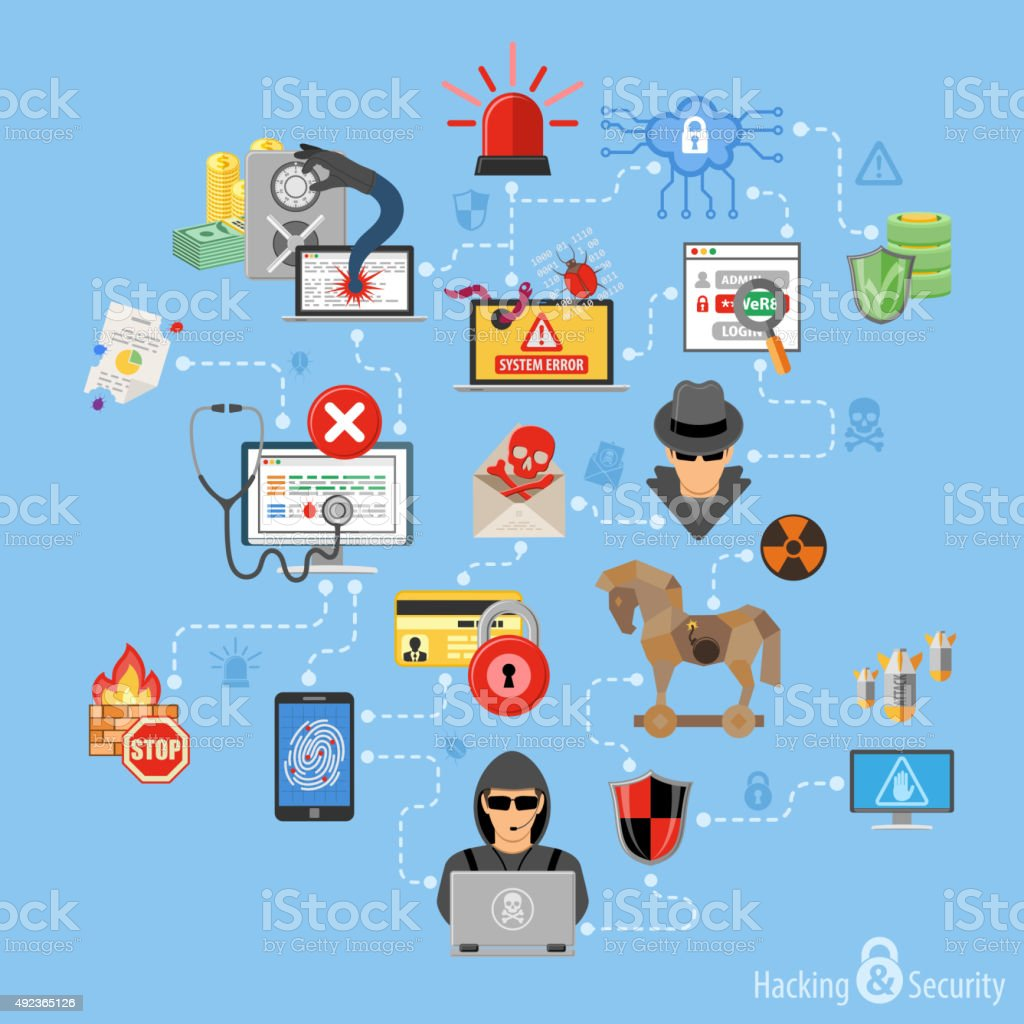 Internet Security Infographics vector art illustration