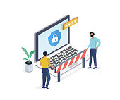 Internet security isometric concept.Two men are guarding the laptop