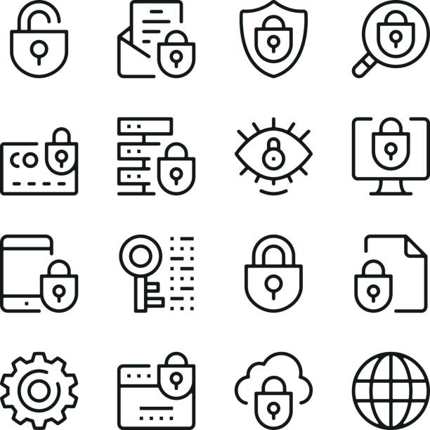 Internet security line icons set. Modern graphic design concepts, simple outline elements collection. Vector line icons Internet security line icons set. Modern graphic design concepts, simple outline elements collection. Vector line icons padlock stock illustrations