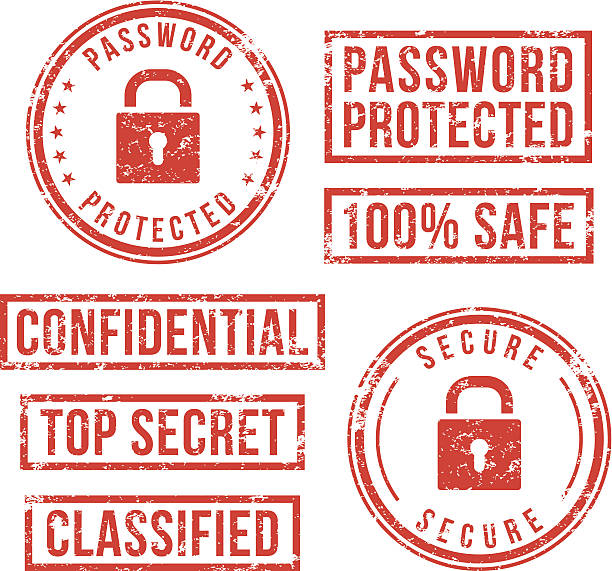 Internet security - rubber stamps vector art illustration