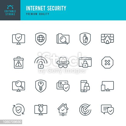 Set of 20 Internet Security thin line vector icons.