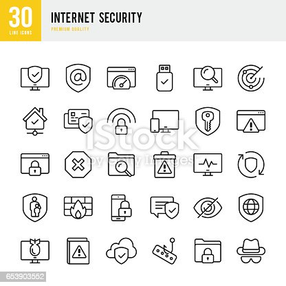 Internet Security set of thin line vector icons.