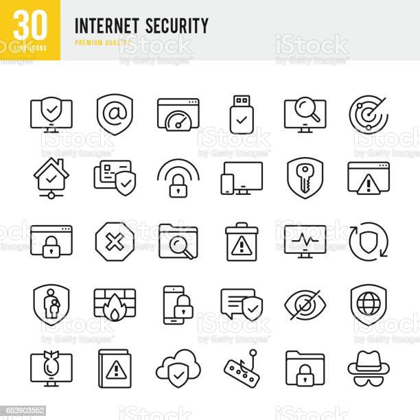 Internet security set of thin line vector icons vector id653903552?b=1&k=6&m=653903552&s=612x612&h=rrx463lc 91pz7vksir  xrm0mxkafbjp83i9if7vec=