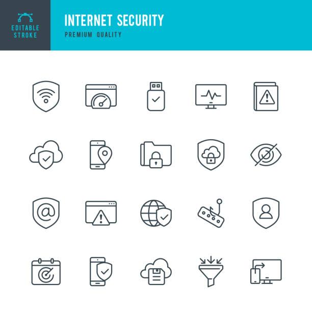 bildbanksillustrationer, clip art samt tecknat material och ikoner med internet security - uppsättning av tunn linje vektor ikoner - skydd