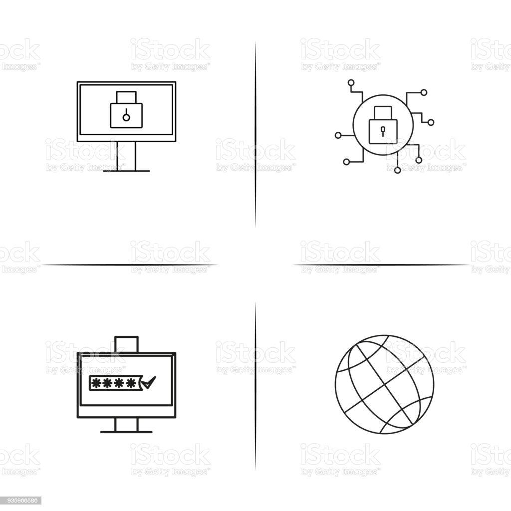 Internet Securityeinfache Lineare Iconset Einfache Gliederung ...