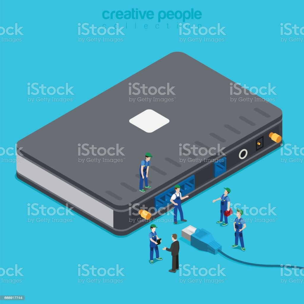 Internet Service Connection Supply Flat 3d Isometric Isometry ...