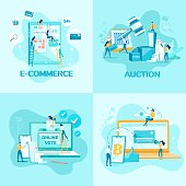 Internet Services and Activities for Social Issues and Commerce Set. Online Vote, E-commerce and Distance Auction. Cryptocurrency Exchange and Distance Trade Stock. Flat Vector Illustration.
