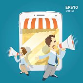Two man standing holding loudspeakers and shouting. Internet shop and website promotion illustration.