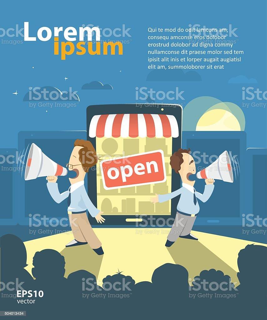 Loja Promoção Internet - ilustração de arte em vetor