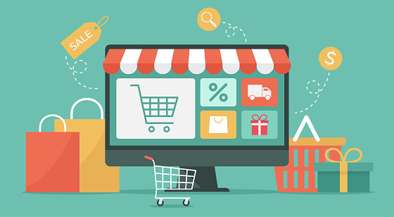 internet shopping concept on computer, e-shopping and e-commerce, online digital store with shopping cart and goods, vector illustration